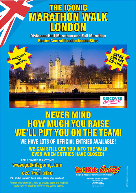 Join the No. 1 Team for Iconic Marathon Walk London. We've got lots of guaranteed entries available! We can still get you into the race, even when entries have closed!