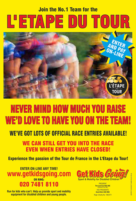 Join the No. 1 Team for the L'etape Du Tour. Official Guranteed Entries Available! Plus... all our riders will receive the SEBASTIAN COE SPORTS CERTIFICATE. We can still get you into the race, even when entries have closed! Experience the passion of the Tour de France in the L'etape du Tour!