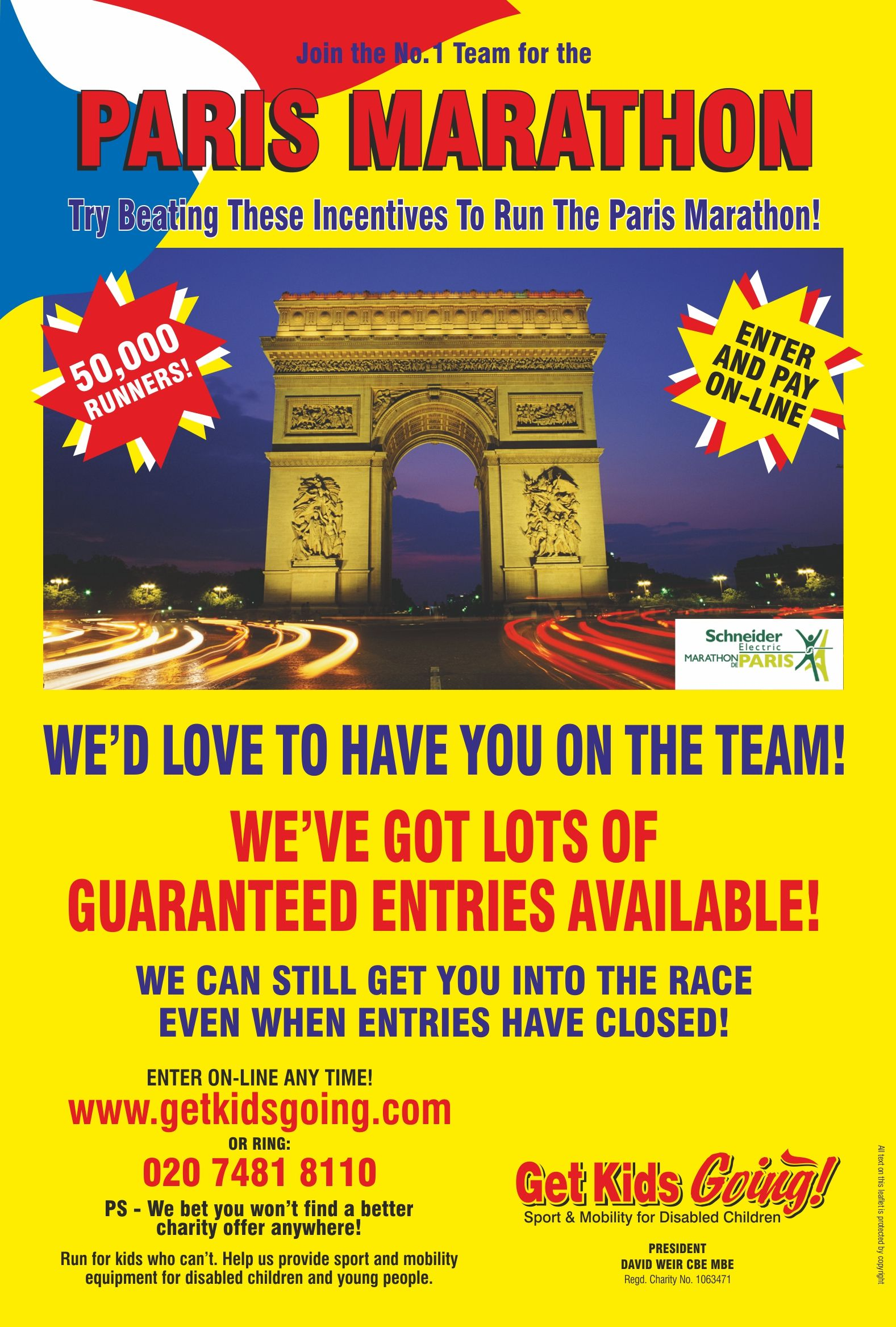 We have many guaranteed entry places available for the Paris Marathon 2016 just waiting to be filled!