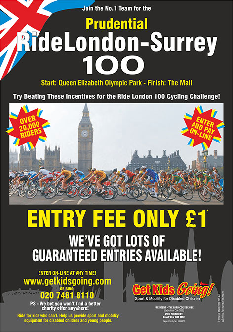 Join the No. 1 Team. Ride London Cycling Challenge. August 2015. Try Beating These Incentives for the Ride London Cycling Challenge. Never mind how much you raise. We'd love to have you on the team! We've got lots of guaranteed entries available!