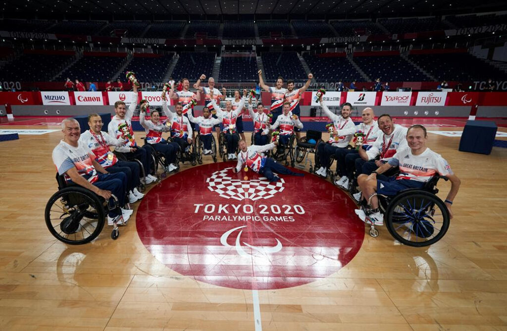GB Wheelchair rugby team posing with gold medals