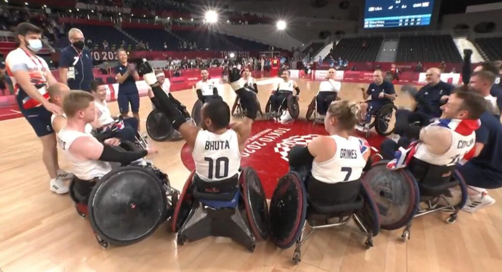GB Wheelchair rugby team in a circle