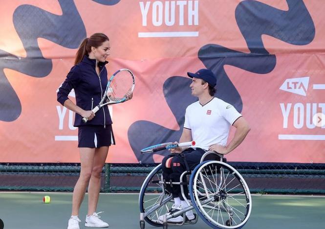 Tennis champion Gordon Reid joins the Duchess of Cambridge and Emma Raducanu for doubles match