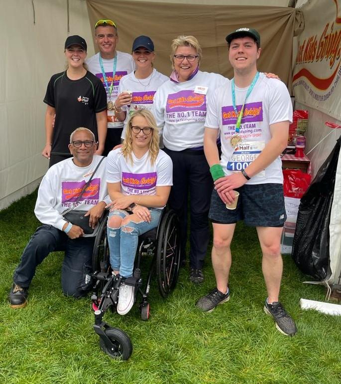 Wheelchair racer Olivia Gallagher made surprise visit to Royal Parks Half Marathon to thank Get Kids Going!